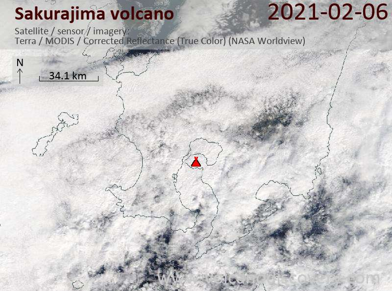 Satellite image of Sakurajima volcano on  6 Feb 2021