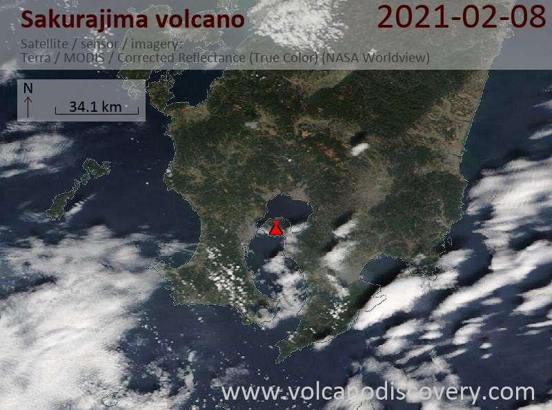 Satellite image of Sakurajima volcano on  9 Feb 2021