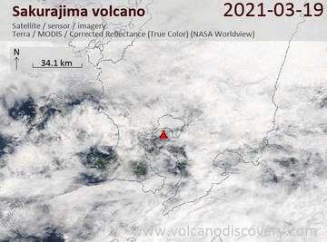 Satellite image of Sakurajima volcano on 20 Mar 2021
