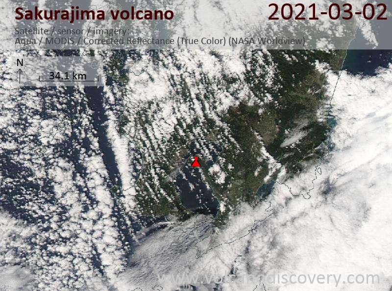 Satellite image of Sakurajima volcano on  3 Mar 2021