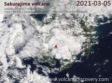 Satellite image of Sakurajima volcano on  5 Mar 2021