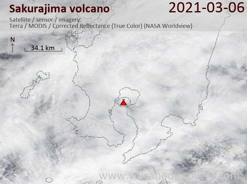 Satellite image of Sakurajima volcano on  6 Mar 2021