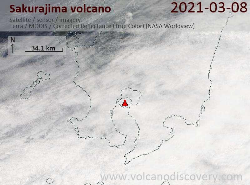 Satellite image of Sakurajima volcano on  8 Mar 2021