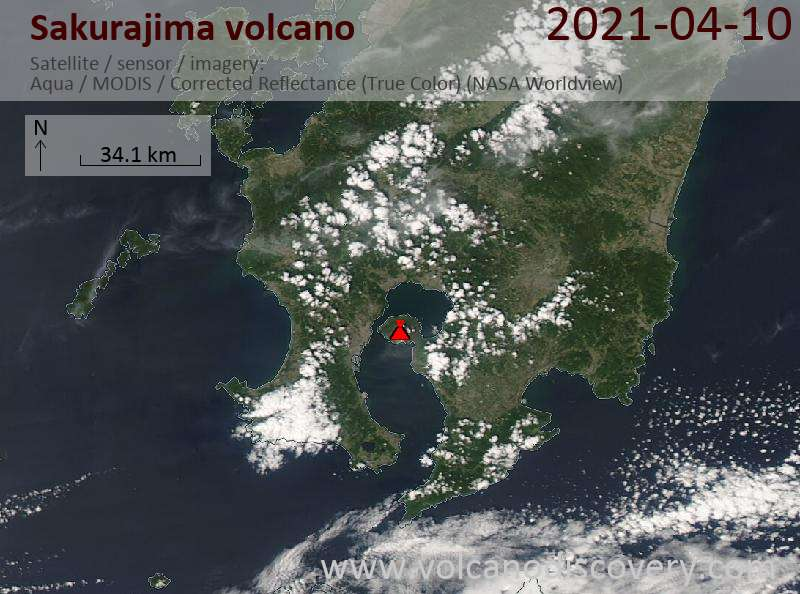 Satellite image of Sakurajima volcano on 11 Apr 2021