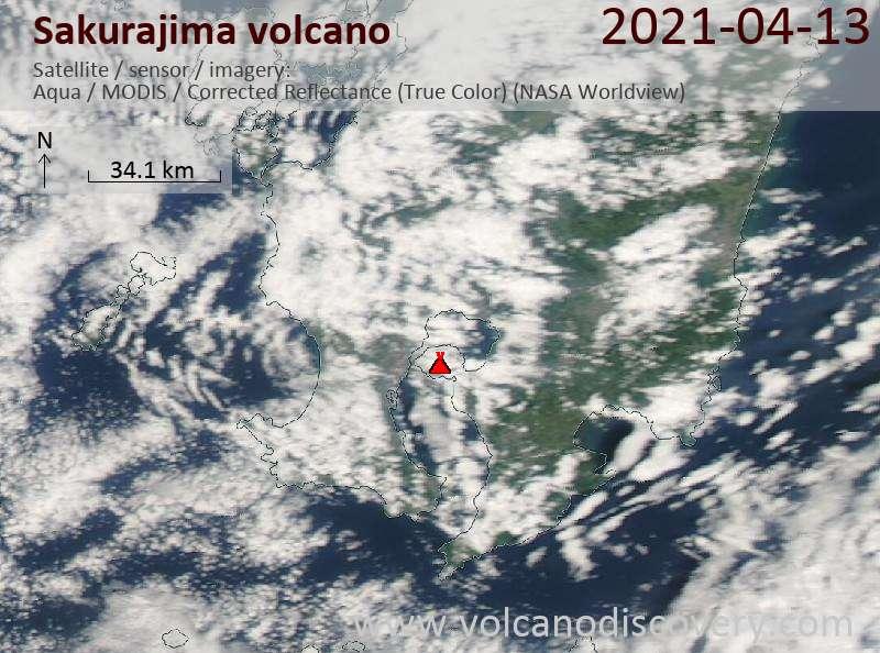Satellite image of Sakurajima volcano on 13 Apr 2021