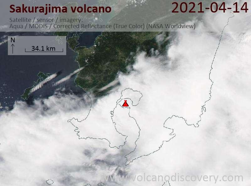 Satellite image of Sakurajima volcano on 14 Apr 2021