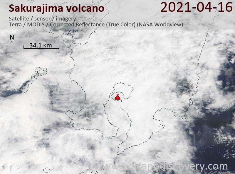 Satellite image of Sakurajima volcano on 16 Apr 2021