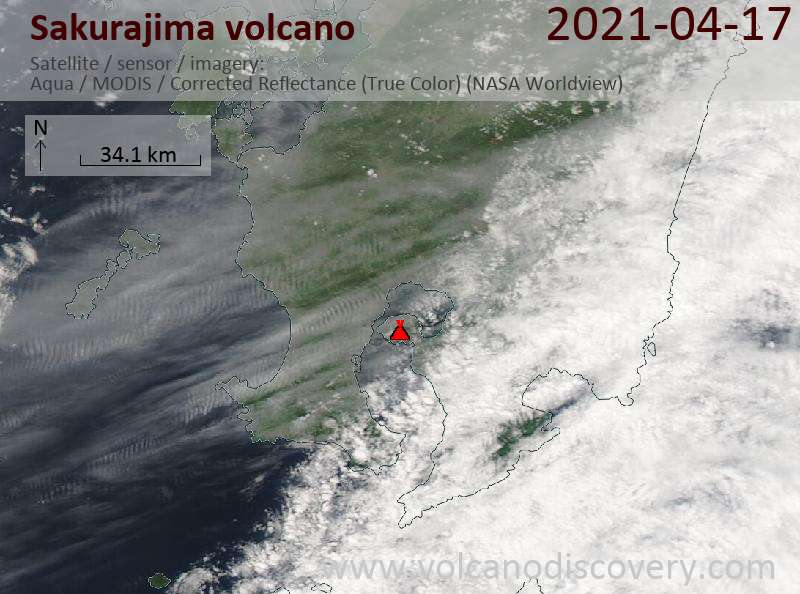 Satellite image of Sakurajima volcano on 17 Apr 2021