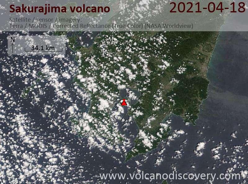 Satellite image of Sakurajima volcano on 18 Apr 2021