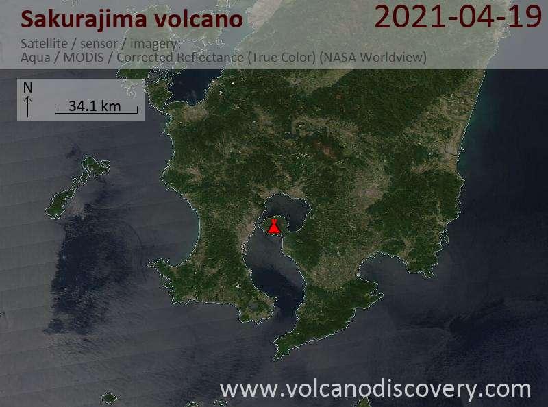 Satellite image of Sakurajima volcano on 20 Apr 2021