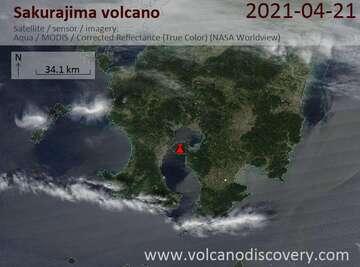 Satellite image of Sakurajima volcano on 22 Apr 2021