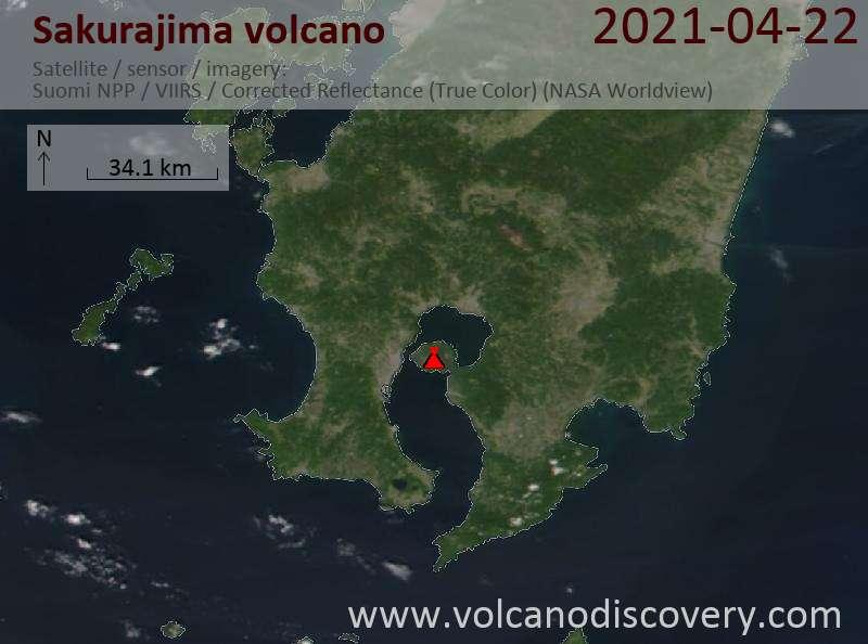 Satellite image of Sakurajima volcano on 23 Apr 2021