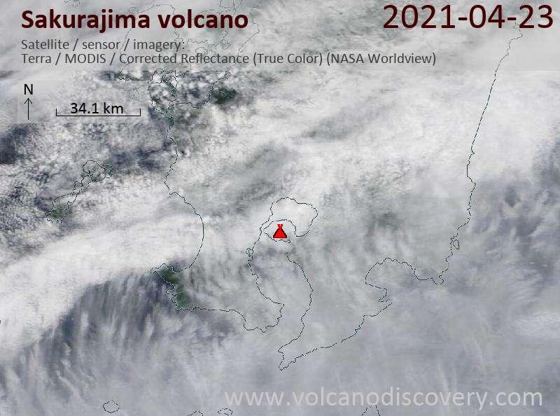 Satellite image of Sakurajima volcano on 24 Apr 2021