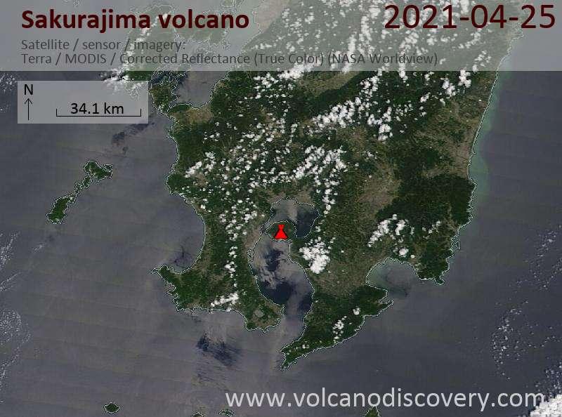 Satellite image of Sakurajima volcano on 25 Apr 2021
