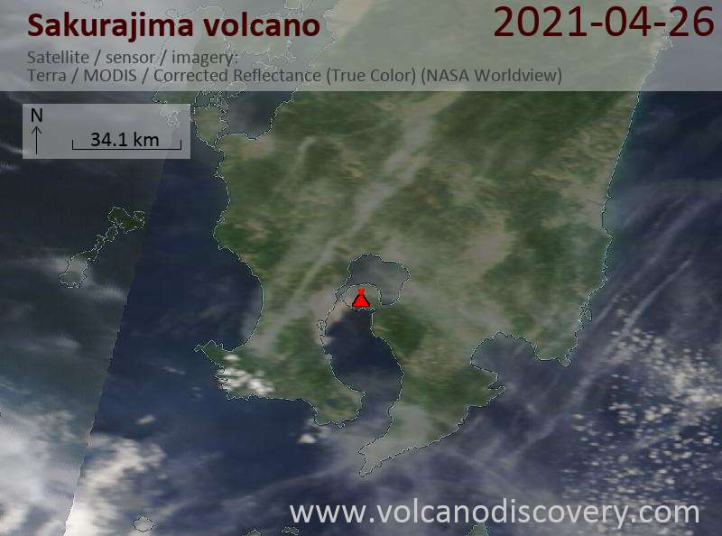 Satellite image of Sakurajima volcano on 26 Apr 2021