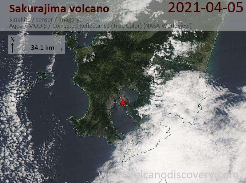 Satellite image of Sakurajima volcano on  5 Apr 2021