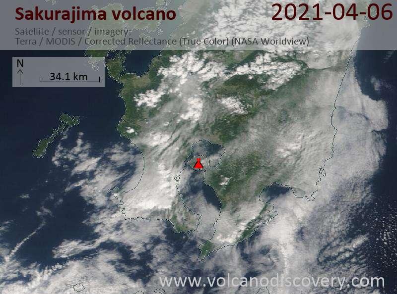 Satellite image of Sakurajima volcano on  6 Apr 2021