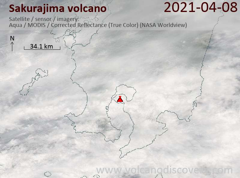 Satellite image of Sakurajima volcano on  8 Apr 2021