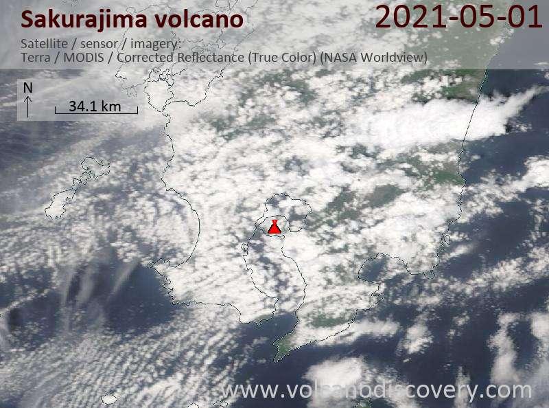 Satellite image of Sakurajima volcano on  1 May 2021