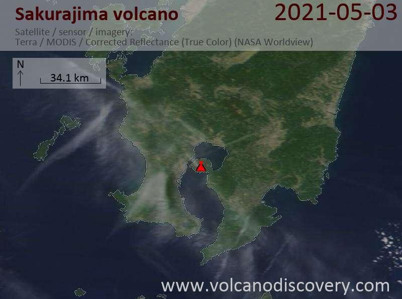 Satellite image of Sakurajima volcano on  4 May 2021