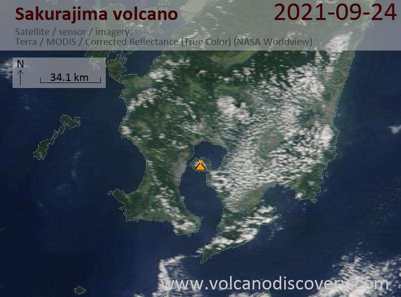 Satellite image of Sakurajima volcano on 24 Sep 2021