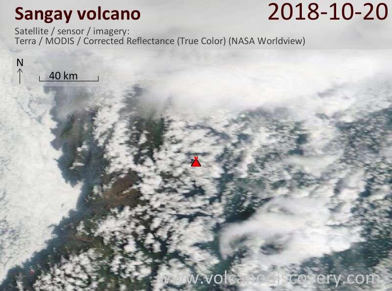 Satellite image of Sangay volcano on 20 Oct 2018