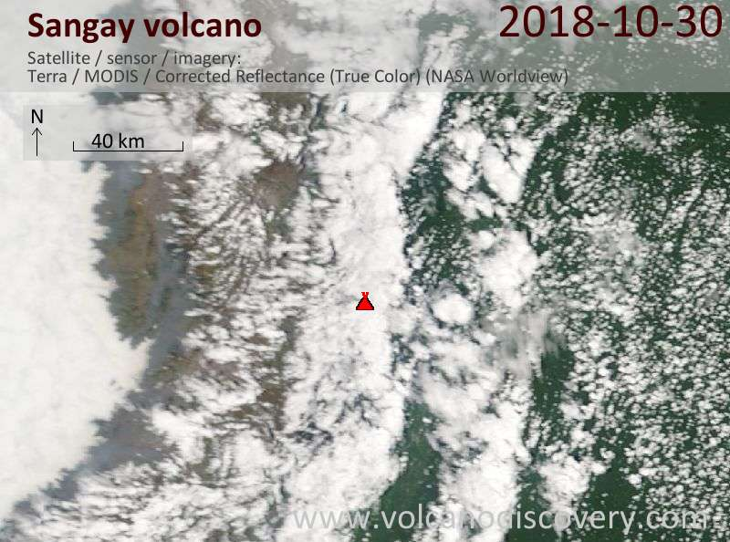 Satellite image of Sangay volcano on 30 Oct 2018