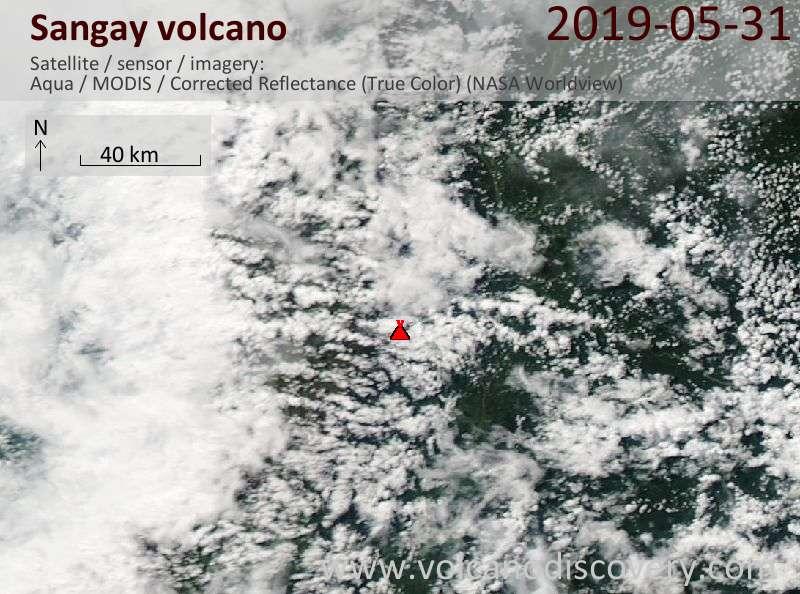 Satellite image of Sangay volcano on 31 May 2019