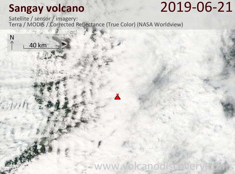 Satellite image of Sangay volcano on 22 Jun 2019