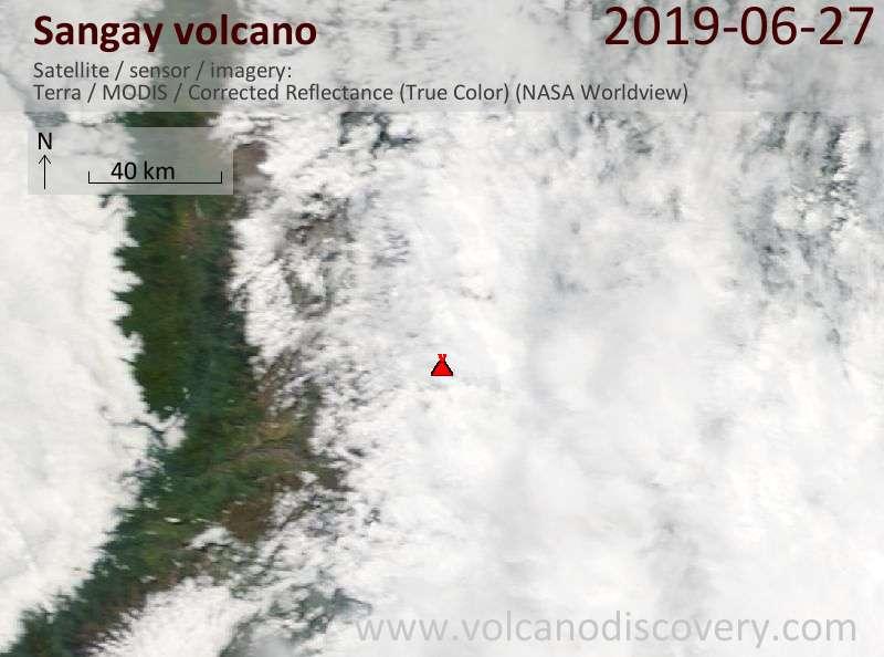 Satellite image of Sangay volcano on 28 Jun 2019
