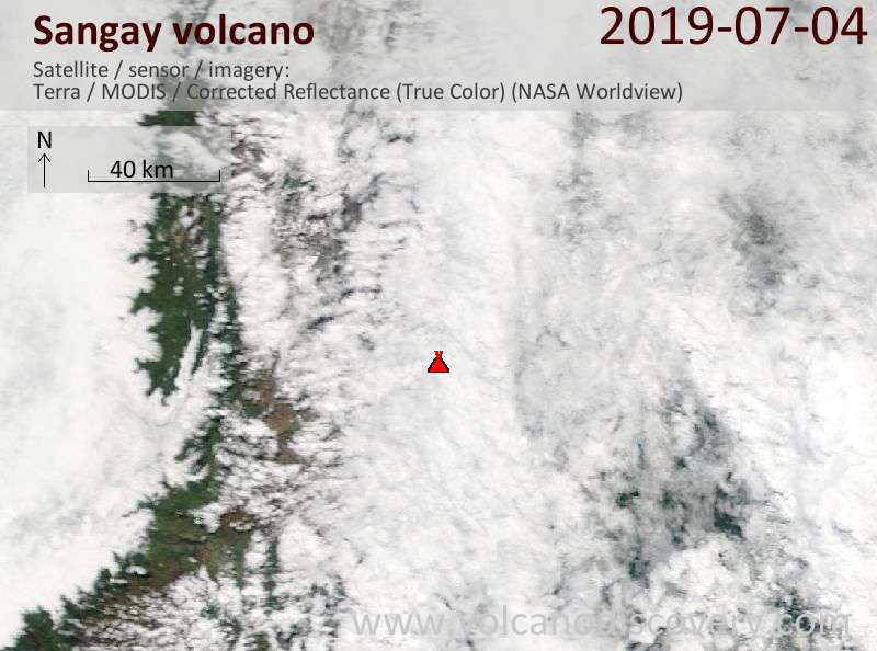 Satellitenbild des Sangay Vulkans am  4 Jul 2019