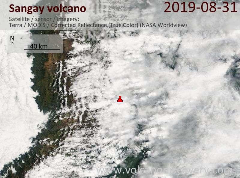 Satellite image of Sangay volcano on 31 Aug 2019