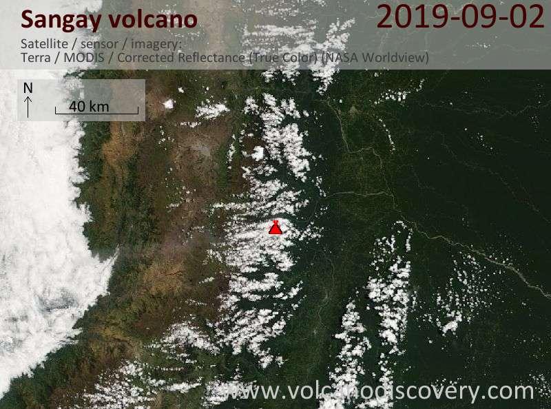 Satellite image of Sangay volcano on  2 Sep 2019