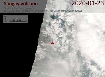 Satellite image of Sangay volcano on 23 Jan 2020