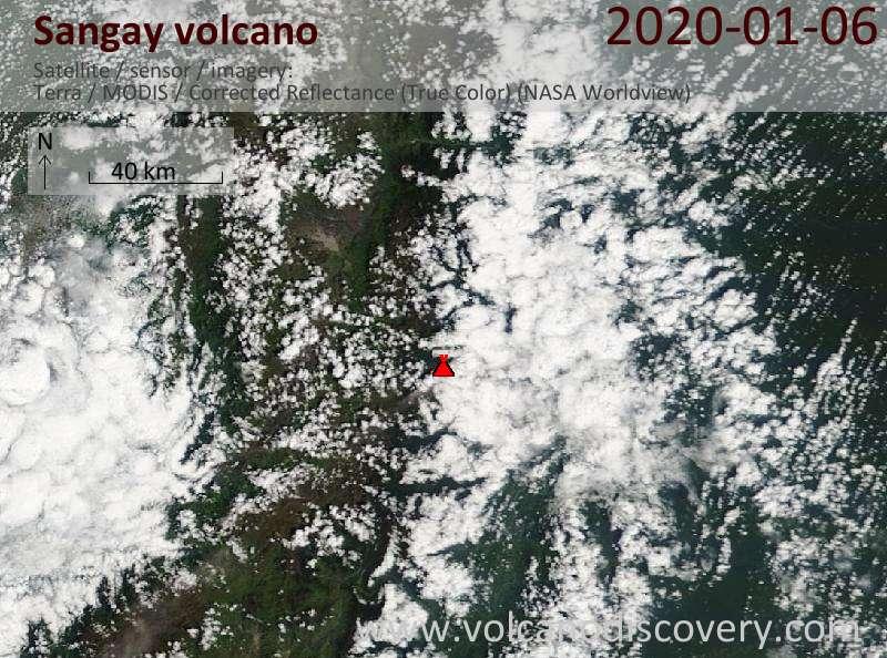 Satellite image of Sangay volcano on  6 Jan 2020
