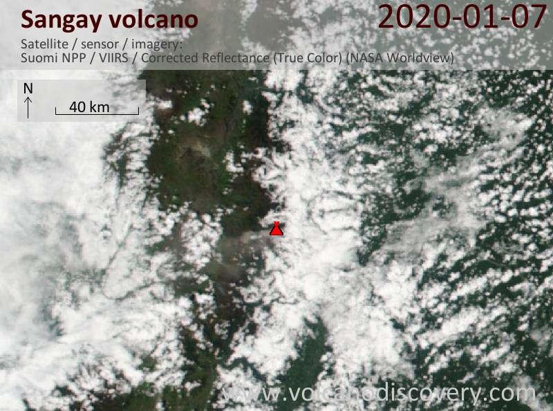 Спутниковое изображение вулкана Sangay  7 Jan 2020