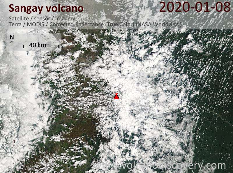 Спутниковое изображение вулкана Sangay  8 Jan 2020