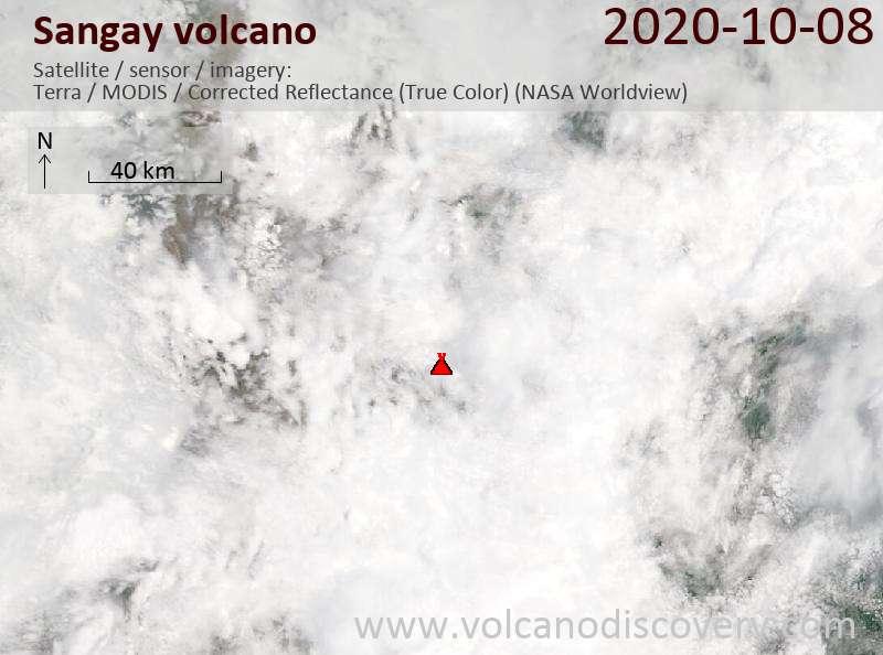 Satellite image of Sangay volcano on  8 Oct 2020