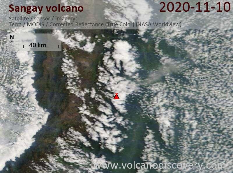 Satellite image of Sangay volcano on 10 Nov 2020