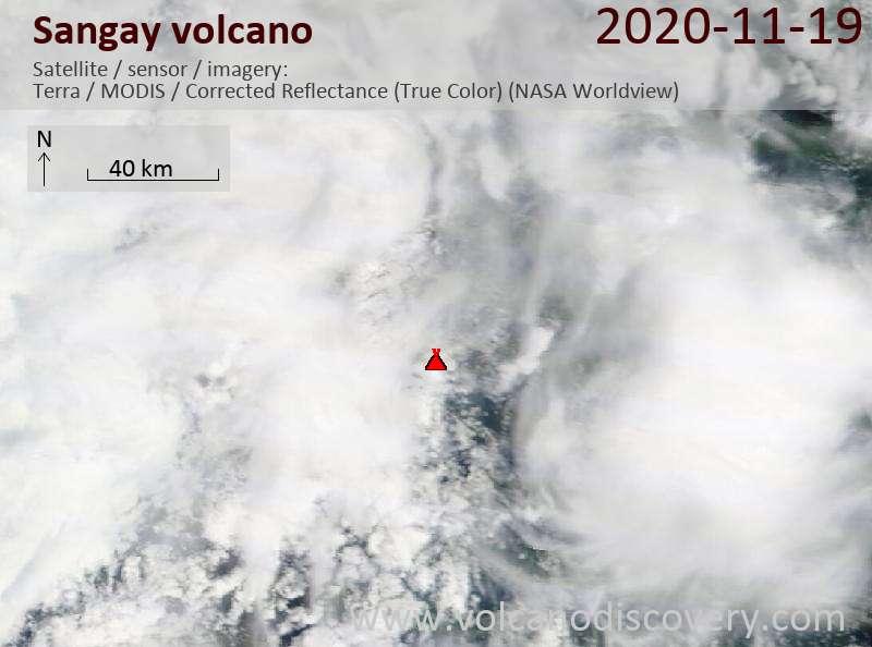 Satellite image of Sangay volcano on 19 Nov 2020