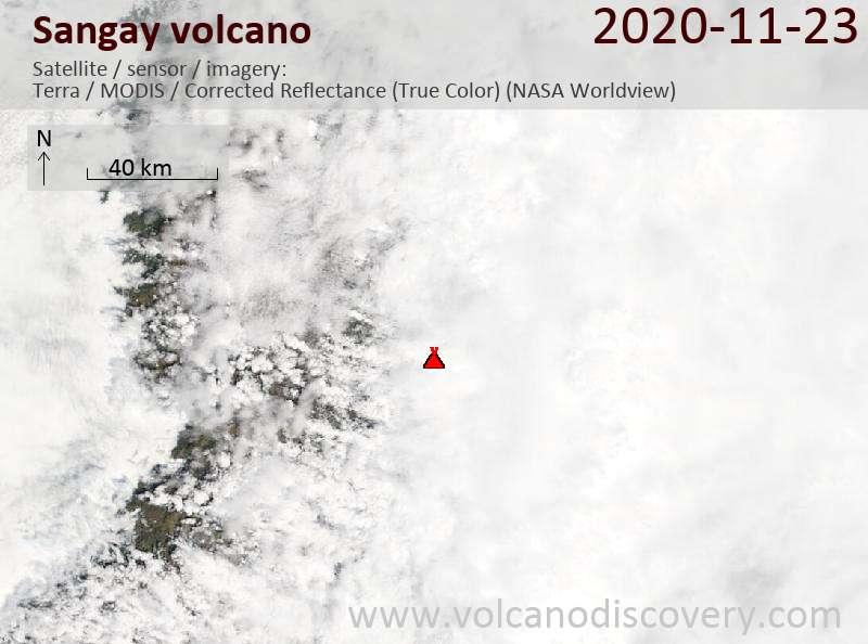 Satellite image of Sangay volcano on 23 Nov 2020