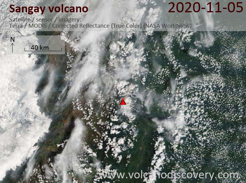 Satellite image of Sangay volcano on  5 Nov 2020