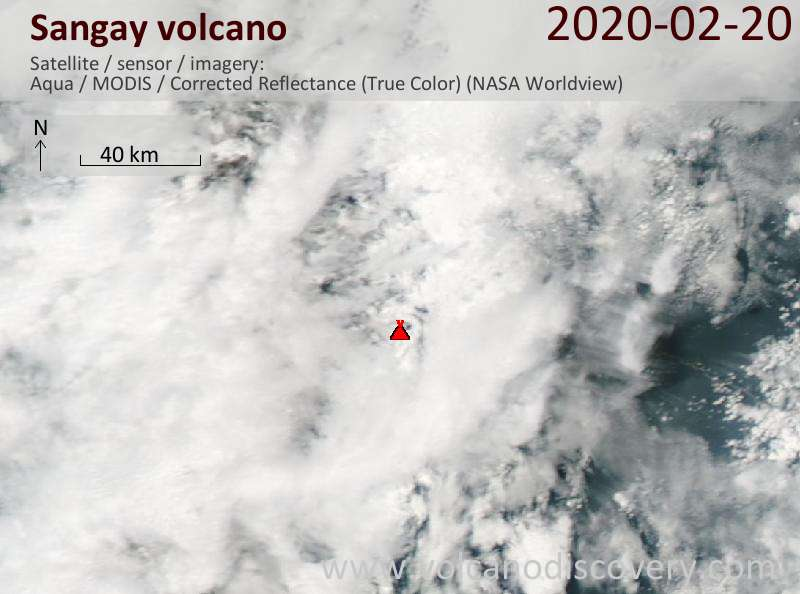 Satellite image of Sangay volcano on 21 Feb 2020