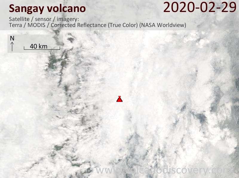Satellite image of Sangay volcano on 29 Feb 2020