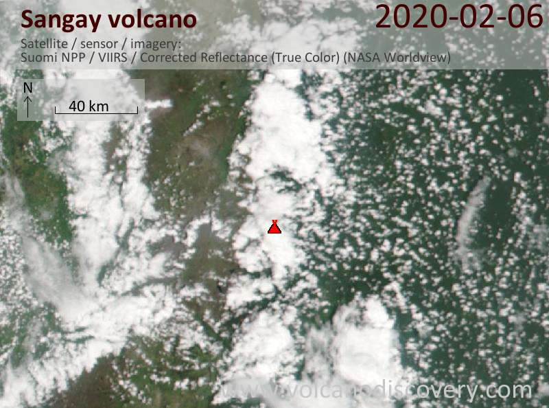 Спутниковое изображение вулкана Sangay  7 Feb 2020