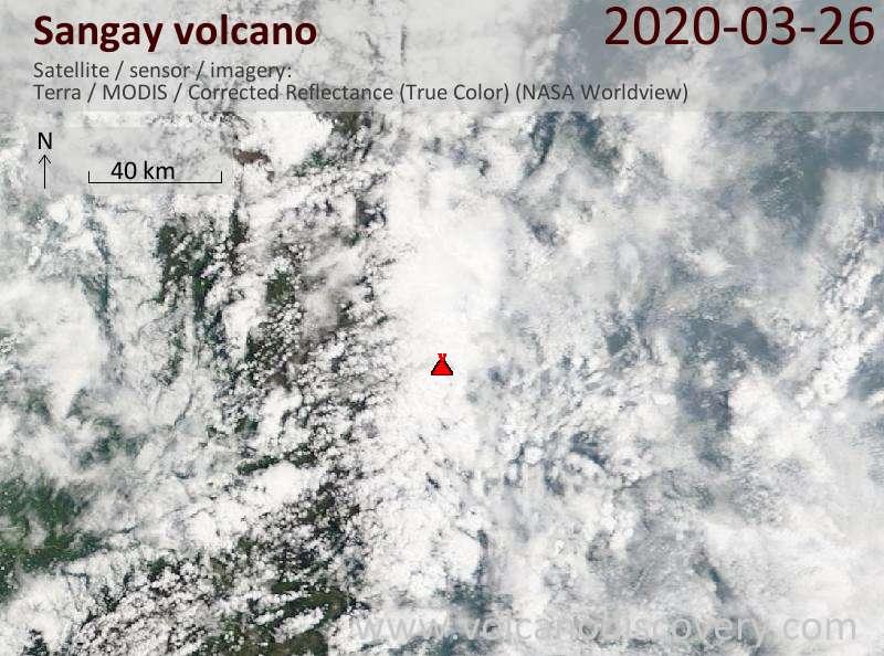 Satellite image of Sangay volcano on 26 Mar 2020