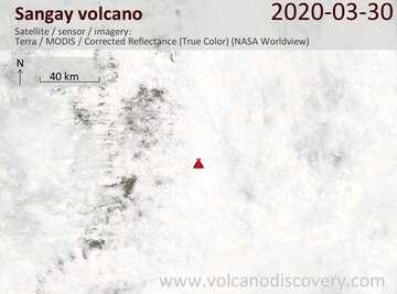 Satellite image of Sangay volcano on 30 Mar 2020