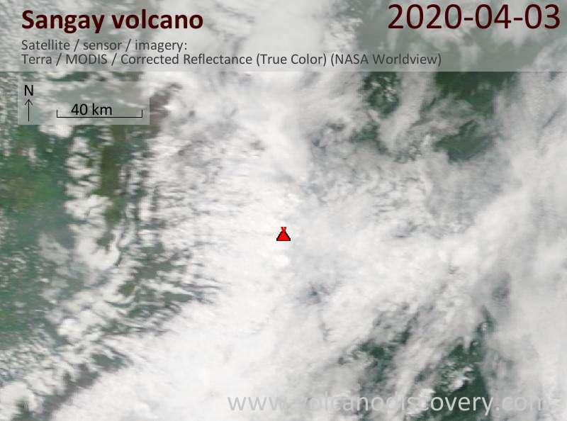 Спутниковое изображение вулкана Sangay  3 Apr 2020