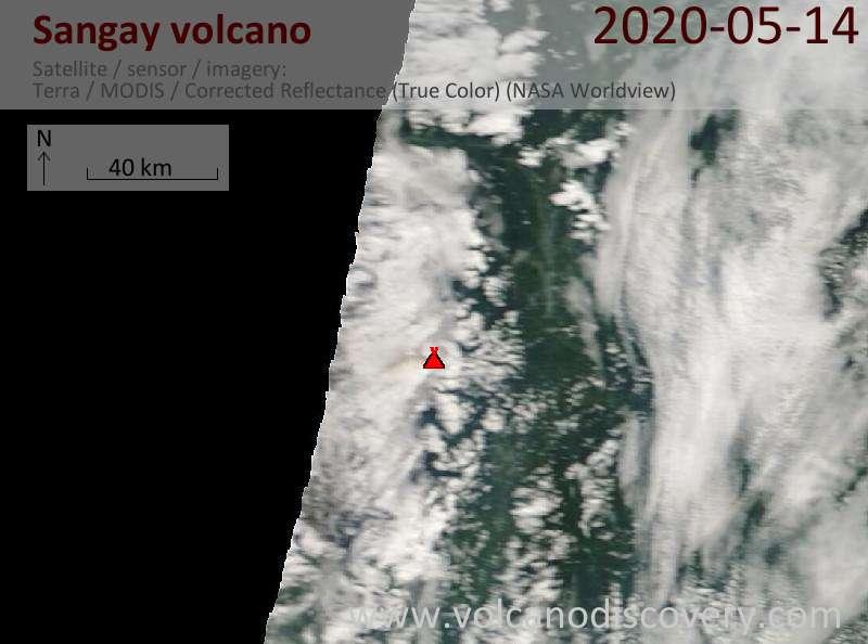 Satellite image of Sangay volcano on 14 May 2020