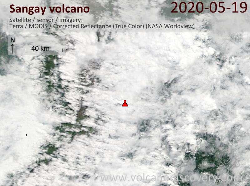 Satellite image of Sangay volcano on 19 May 2020